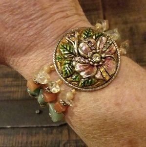 Jewelry - Semi-precious Stone Bracelet w/ Floral Focus